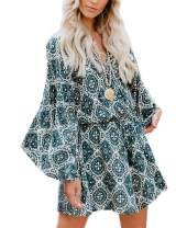 Relipop Women's Jumpsuit Floral Print Deep V Neck Long Baggy Sleeve Loose Rompers with Drawstring