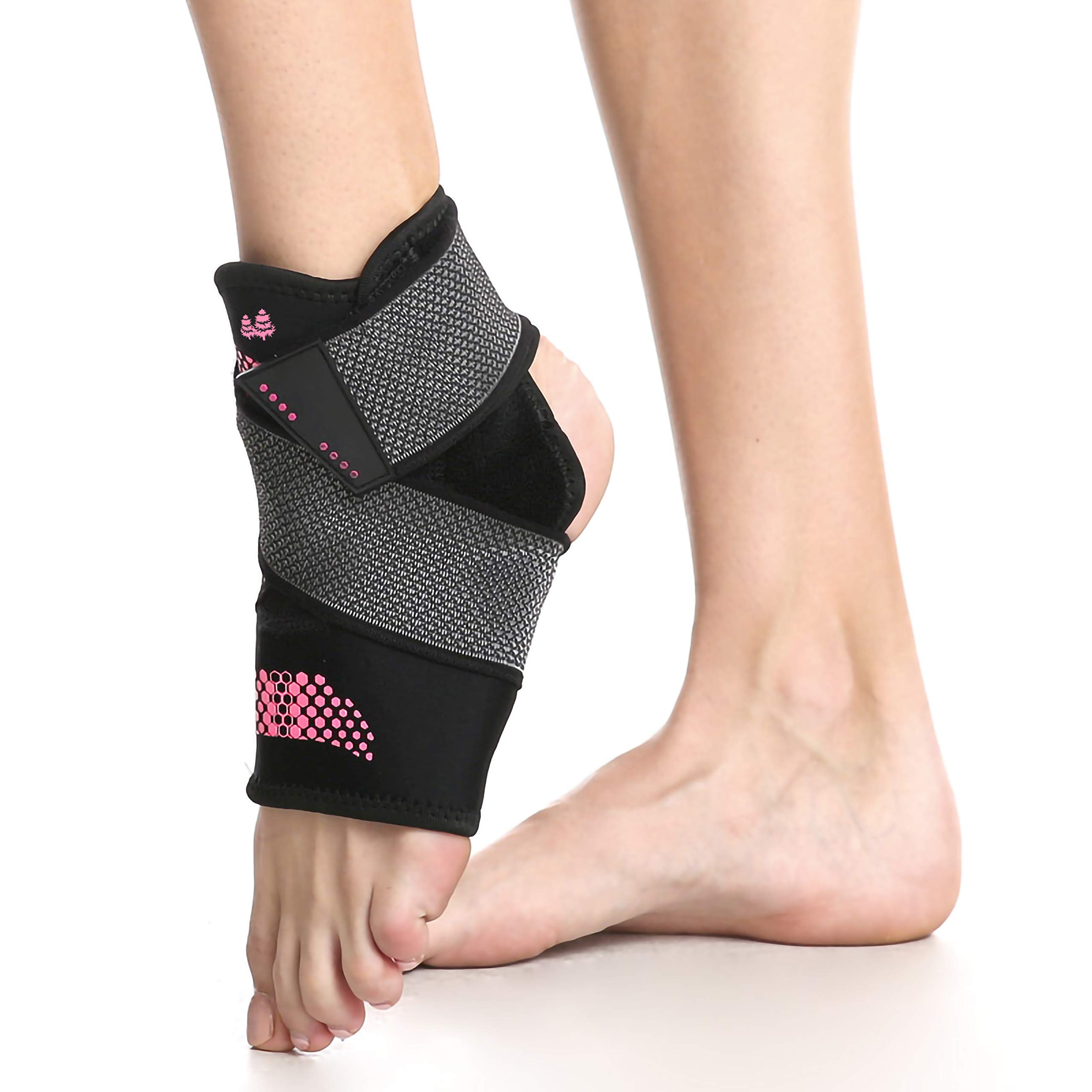 BLUE PINE Ankle Support Brace, Breathable Neoprene Sleeve with Adjustable Wrap (Pink/Black, Pair, Large)