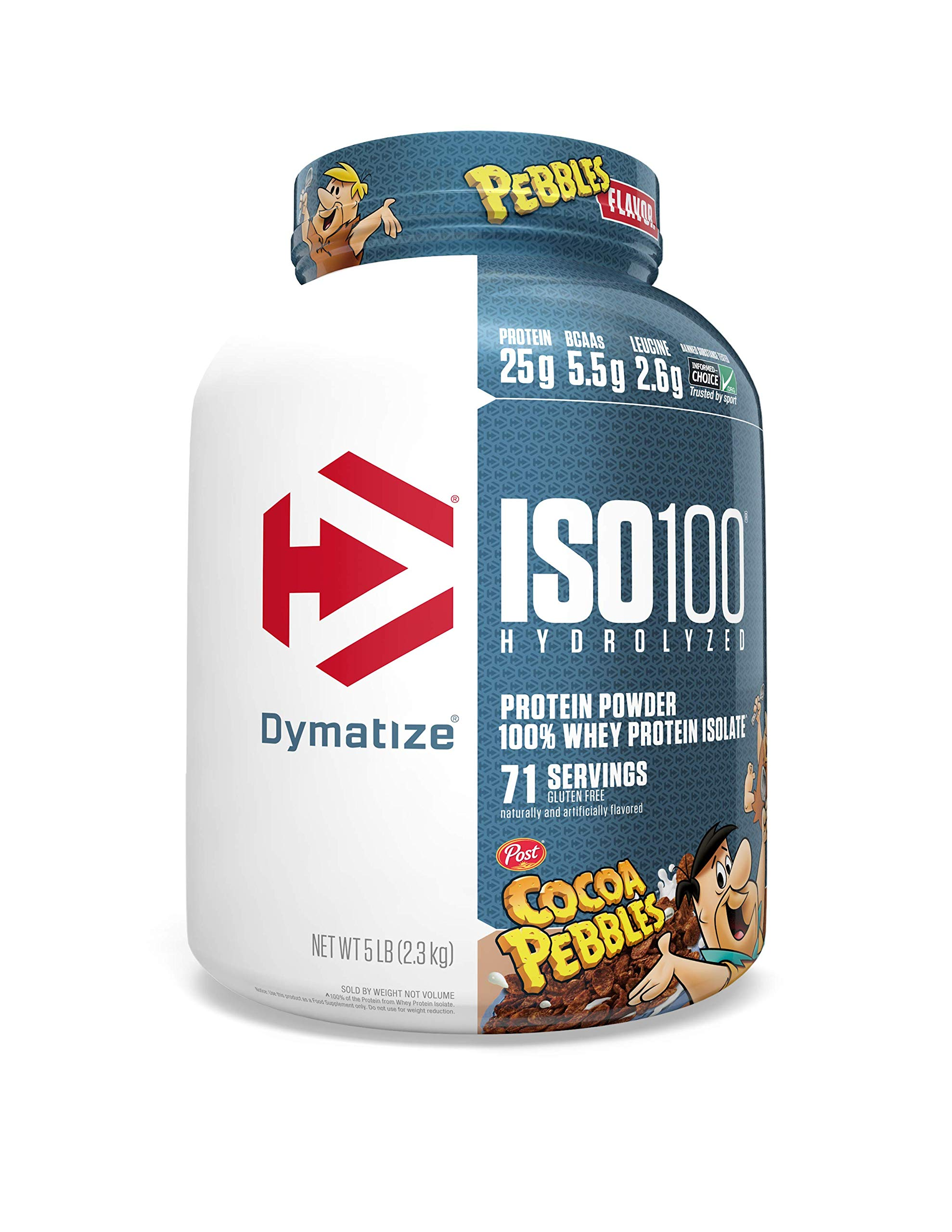 Dymatize ISO100 Hydrolyzed Protein Powder, 100% Whey Isolate Protein, 25g of Protein, 5.5g BCAAs, Gluten Free, Fast Absorbing, Easy Digesting, Cocoa Pebbles, 5 Pound