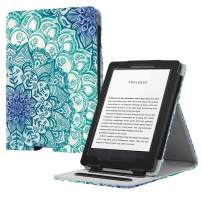 Fintie Flip Case for All-New Kindle (10th Generation, 2019) / Kindle (8th Generation, 2016) - Vertical Multi-Viewing Hands-Free Stand Cover with Auto Sleep/Wake, Emerald Illusions