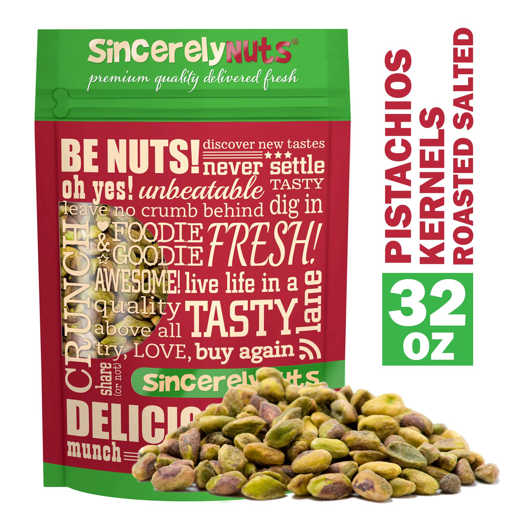 Sincerely Nuts Pistachios Roasted and Salted Kernels (Meats) No Shell - 2 Lb. Bag -   Healthy Snack Food   Great for Cooking   Source of Fiber & Protein   Gourmet Flavor   Vegan, Kosher & Gluten Free