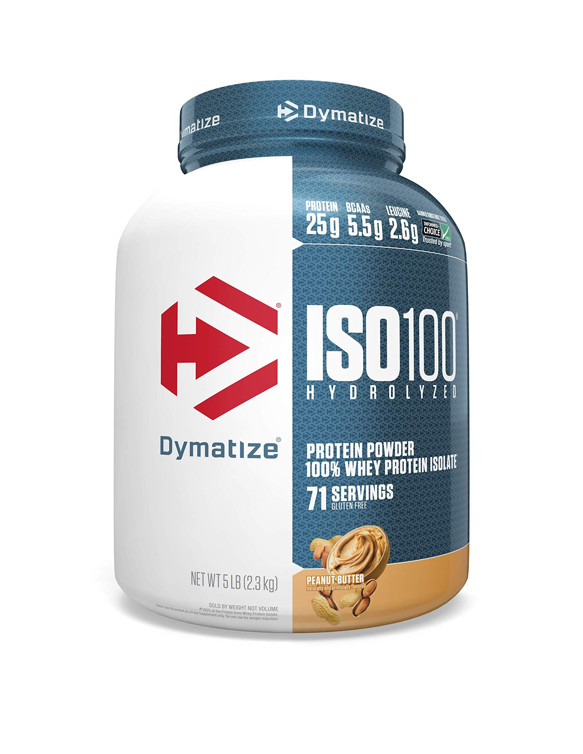 Dymatize ISO100 Hydrolyzed Protein Powder, 100% Whey Isolate Protein, 25g of Protein, 5.5g BCAAs, Gluten Free, Fast Absorbing, Easy Digesting, Peanut Butter, 5 Pound