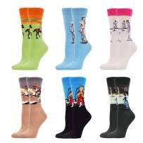 WeciBor Women's Colorful Novelty Funny Crew Socks Crazy Cute Design Combed Cotton Crew Socks