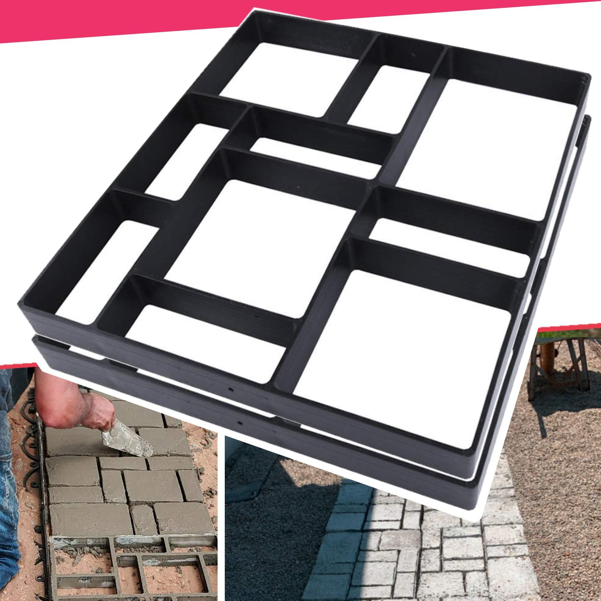 "Anothera 17.5""x15.5""x1.5"" 2Pack Concrete Molds Reusable Walk Path Maker Paving DIY Path Garden Yard Patio Mold (10-Grid)…"