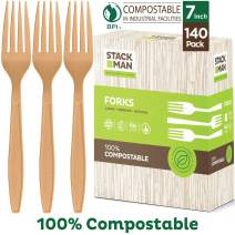 Stack Man 100% Compostable Plastic Silverware, Large Premium Heavy-Duty Flatware Utensils Eco Friendly BPi Certified, 7.5 Inch, Organic Natural Wood Color Tableware