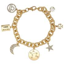 Madison Tyler Personalization Collection Gold Plated Zodiac Constellation Symbol, Name Plate, Moon, Constellation, Star, and Stone Charm Chain Bracelet for Women