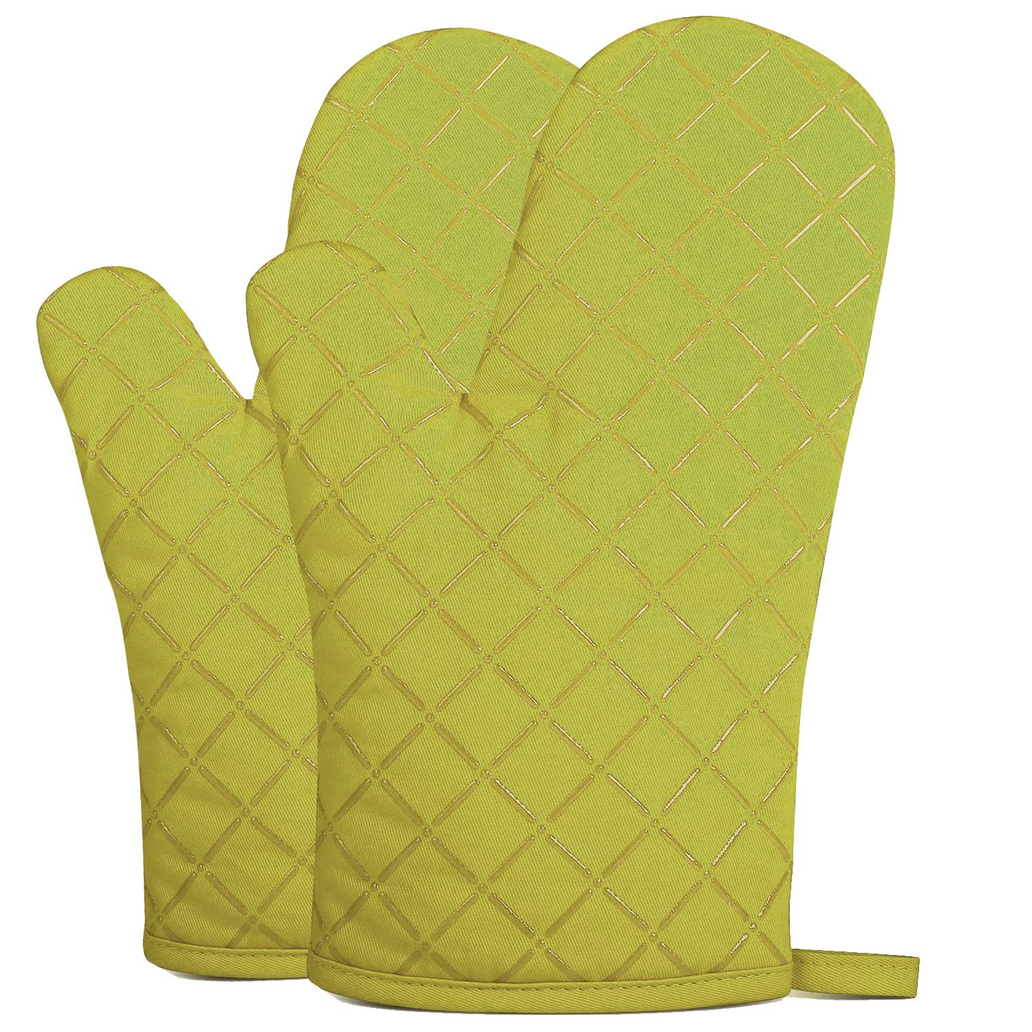 ETECHMART Cotton Oven Mitts with Silicone, 11 Inches Heat Resistant to 425°F, 1 Pair of Machine Washable Microwave Oven Gloves with Non-Slip Grip and Hanging Loop for Kitchen, Cooking, Baking (Green)