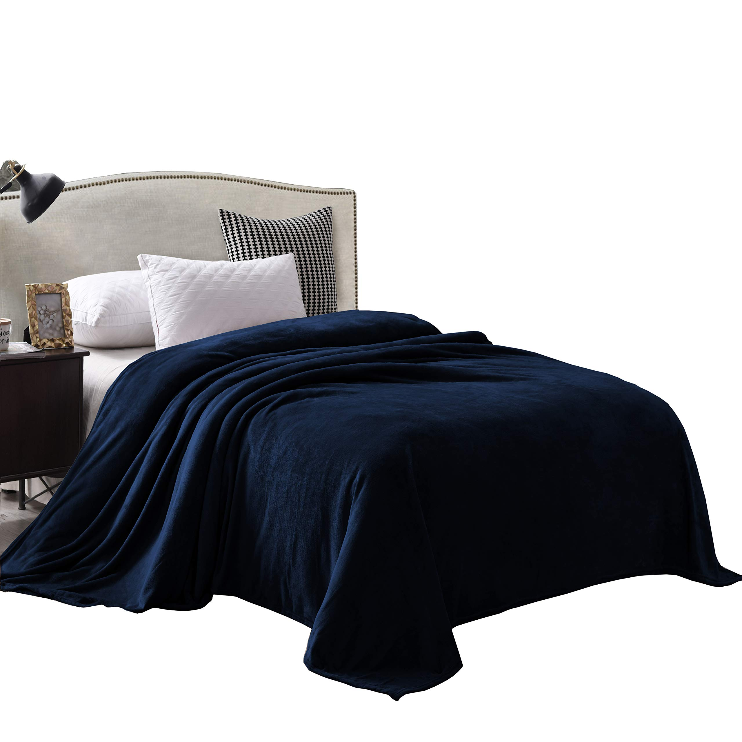 """Exclusivo Mezcla Super Soft King Size Flannel Fleece Blanket as Bed Cover/Bedspread/Coverlet(90"""" x 104"""", Navy Blue) - Plush, Lightweight, Warm and Cozy"""