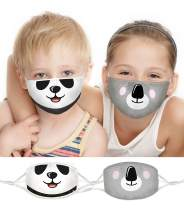 100% Organic Cotton Kids Washable, Reusable Face Masks with Adjustable Ear Loops for Children 3-8 yrs. Two Layers of Soft, Protective Fabric for Boys and Girls. (Panda, Koala, 2 Pk)