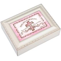 Cottage Garden Children are a Gift of The Lord Ivory Rope Trim Jewelry Music Box Plays Jesus Loves Me