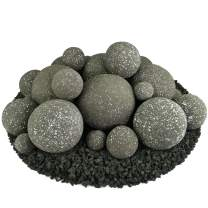 Ceramic Fire Balls | Mixed Set of 23 | Modern Accessory for Indoor and Outdoor Fire Pits or Fireplaces – Brushed Concrete Look | Charcoal Gray, Speckled