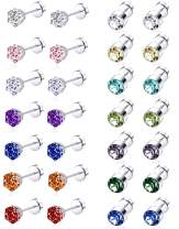 Tornito 7-14 Pairs Stainless Steel CZ Stud Earrings for Women Multicolor Cubic Zirconia Cartilage Helix Earrings Set Screwback 4MM