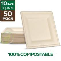"""100% Compostable Square Paper Plates [10 inch - 50-Pack] Elegant Disposable Dinner Plates Heavy-Duty Quality, Natural Bagasse Unbleached Eco-Friendly Made of Sugar Cane Fibers, 10"""" Biodegradable Plate"""
