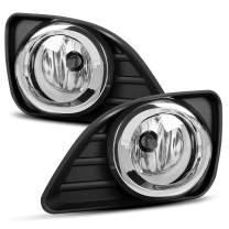 ECOTRIC Pair Front Bumper Fog Lights Lamps w/Wiring Kit Clear Lens Compatible with 2010-2011 Toyota Camry Except for Hybrid Driver & Passenger