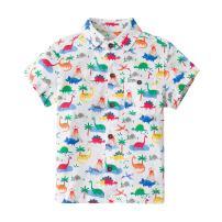 Little Bitty Kids Dinosaur Shirt Toddler Boys Button-Down T-Shirts Summer Cotton Short Sleeve Clothes 2-7Yrs