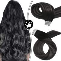 Tape in Hair Extensions 24Inch Silver Hair Extensions Moresoo Tape Hair Extensions Human Hair Balayage Hair Black to Silver Tape in Extensions Adhesive Human Hair Seamless Hair Extensions 20pc/50g