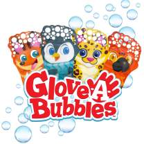 Glove-A-Bubbles Zing 4 Packs with Tray ,Set Includes 1 Penguin, 1 Fox, 1 Leopard, 1 Parrot : Great for Outdoor Play, Gift for Boys and Girls