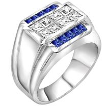 Men's Sterling Silver .925 Ring Featuring Invisible and Channel Set Blue and White Cubic Zirconia Stones, Platinum Plated Jewelry