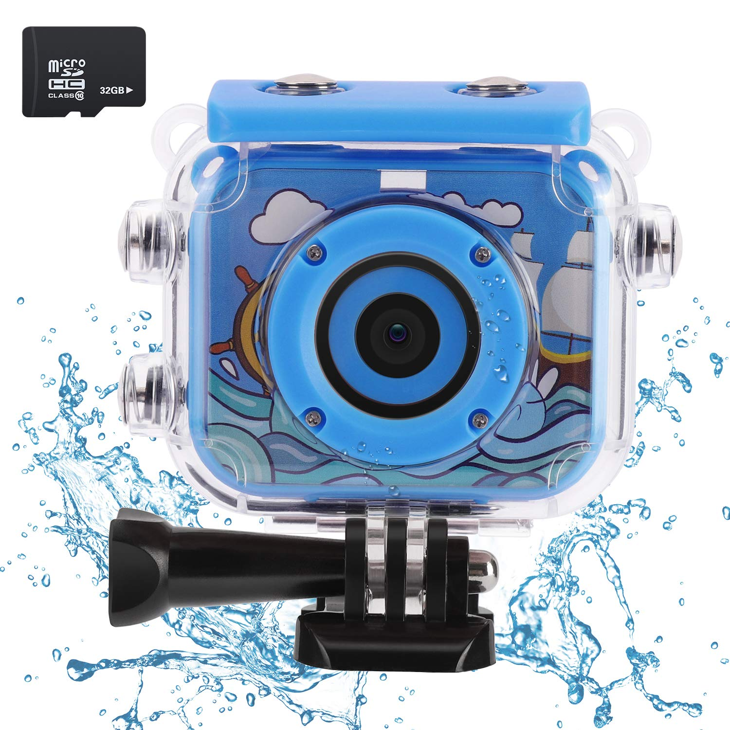 Waterproof Kids Camera with 2.0 Inch LCD Display 12MP HD Action ESHOWEE Underwater Children Camera Camcorder with 32G SD Card for 4-12 Blue
