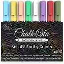 Chalkboard Chalk Markers - Pack of 8 Classic Earth color pens - For Blackboards, Chalkboard, Bistro, Window - Erasable Dry Erase Chalk Ink Pen - 6mm Reversible Bullet & Chisel Tip