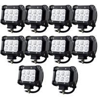 Willpower 10PCS 18w 4 inch Flood LED Work Light Bar for Truck Car ATV SUV 4X4 Jeep Truck Driving Lamp