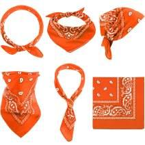 6 Pieces Paisley Bandanas Assorted Cowboy Bandanas Unisex Novelty Print Head Wrap Scarf Wristband for Adults and Kids