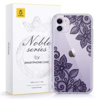 GVIEWIN Noble Series Designed for iPhone 11 Case, Clear Soft TPU Bumper & Hard Back with Floral Pattern Slim Lightweight Graceful Phone Cover for iPhone 11 6.1 Inch 2019 (Lace Flower/Dark Purple)