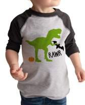 7 ate 9 Apparel Boy's Dinosaur Halloween Raglan Tee Grey