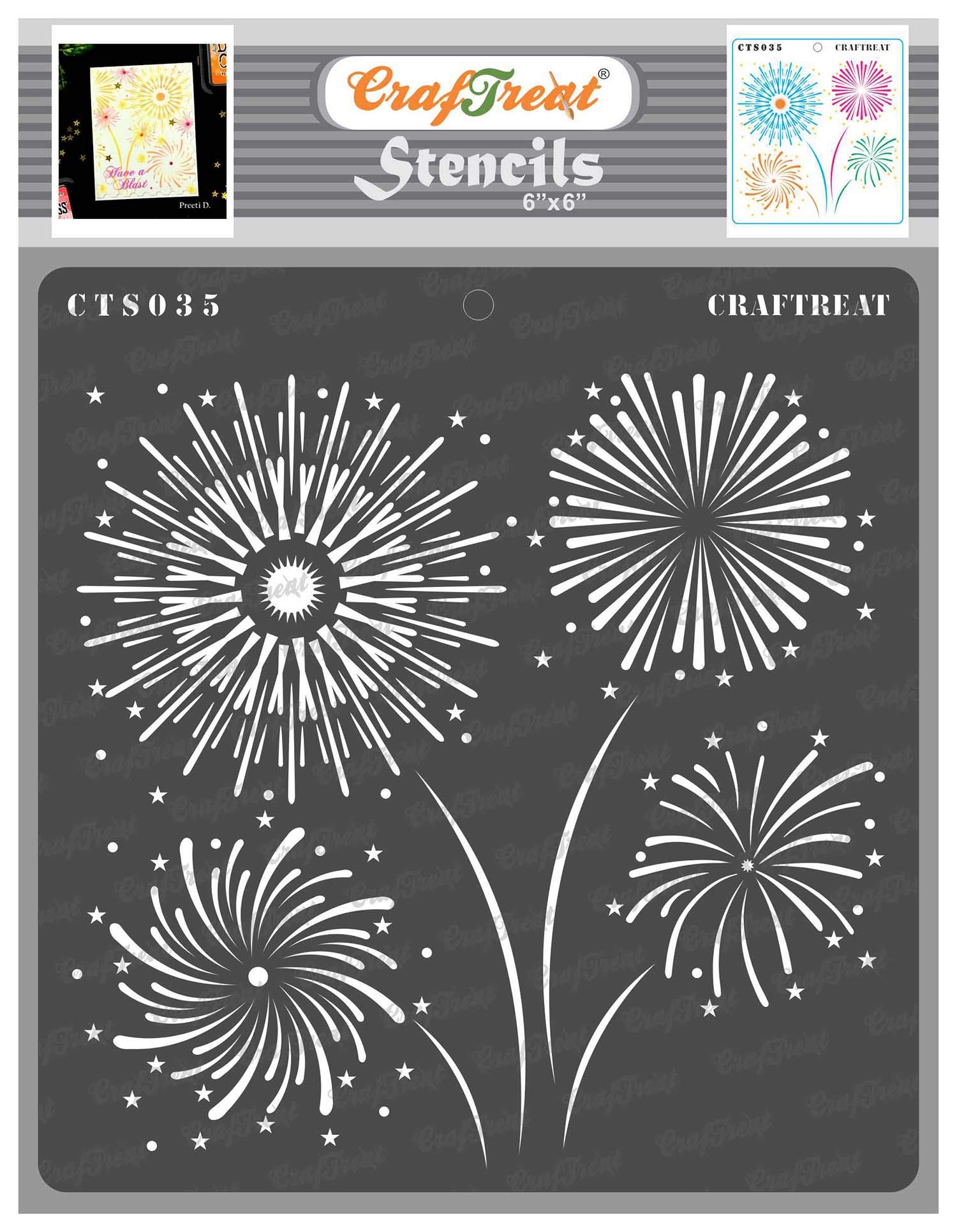 CrafTreat Stencils for Painting on Wood, Canvas, Paper, Fabric, Floor, Wall and Tile - Fireworks Stencil - 6x6 Inches - Reusable DIY Art and Craft Stencils for Home Decor - Firework Stencils Painting