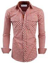 TAM WARE Men's Slim Fit Buffalo Plaid Long Sleeve Shirt