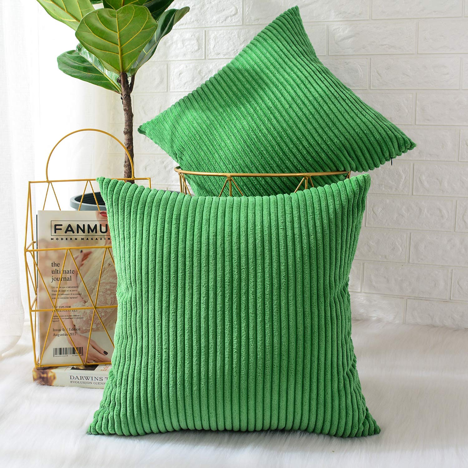 MERNETTE New Year/Christmas Decorations Corduroy Soft Decorative Square Throw Pillow Cover Cushion Covers Pillowcase, Home Decor for Party/Xmas 24x24 Inch/60x60 cm, Pine Green, Set of 2