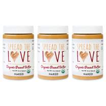 Spread The Love NAKED Organic Peanut Butter, 16 Ounce (Organic, All Natural, Vegan, Gluten-free, Creamy, Dry-Roasted, No added salt, No added sugar, No palm oil) (3-Pack)
