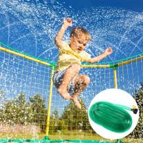 iBaseToy 39ft Trampoline Water Sprinkler for Kids - Outdoor Water Party Games Trampoline Sprinkler, Fun Summer Water Party Toys for Boys Girls Adults