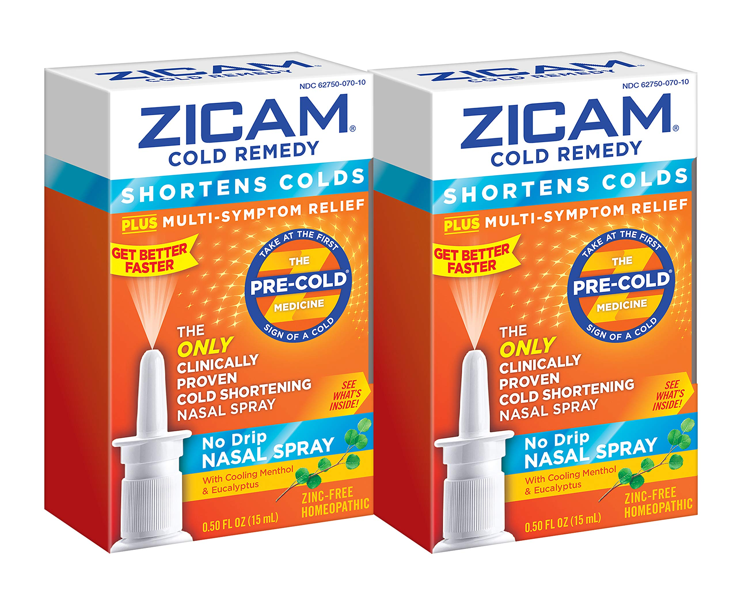 Zicam Cold Remedy No-drip Nasal Spray, 0.5 Fl Oz, Pack of 2