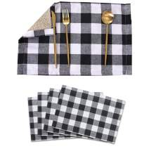 4 PCS Buffalo Check Placemats - 12 x 18 Inch Burlap & Cotton Black White Plaid Reversible Place Mats for Home Holiday Indoor Outdoor Party Dinner Table Decor