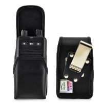 Turtleback Case Made for Motorola Minitor VI (6) Voice Pager Fire Radio Two-Tone Voice Pager Radio Black Leather Pouch Holster Case with Heavy Duty Rotating Belt Clip, Magnetic Closure Flap