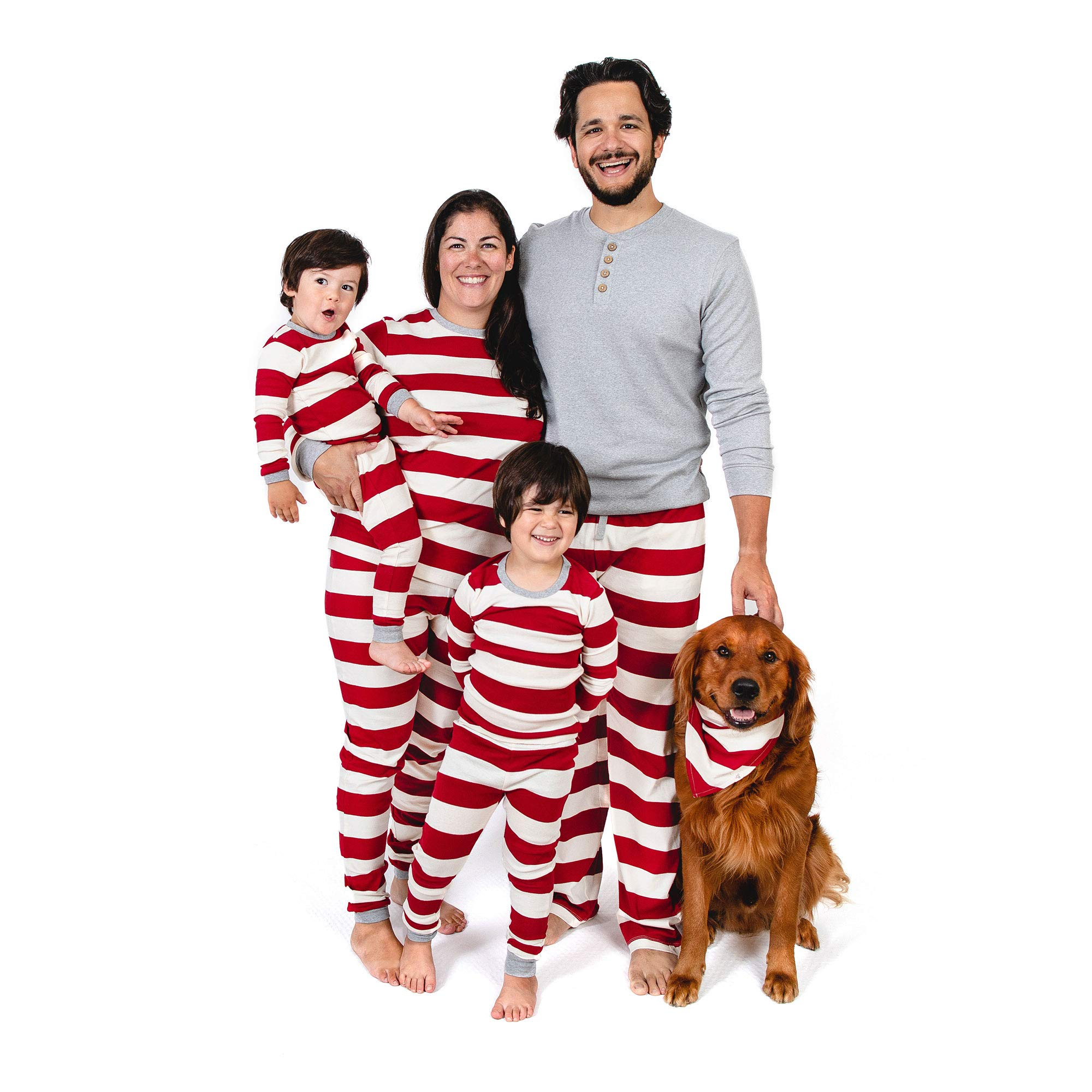 Burt's Bees Baby Family Jammies, Holiday Matching Pajamas, 100% Organic Cotton PJs, Red Rugby Stripe, Womens Large