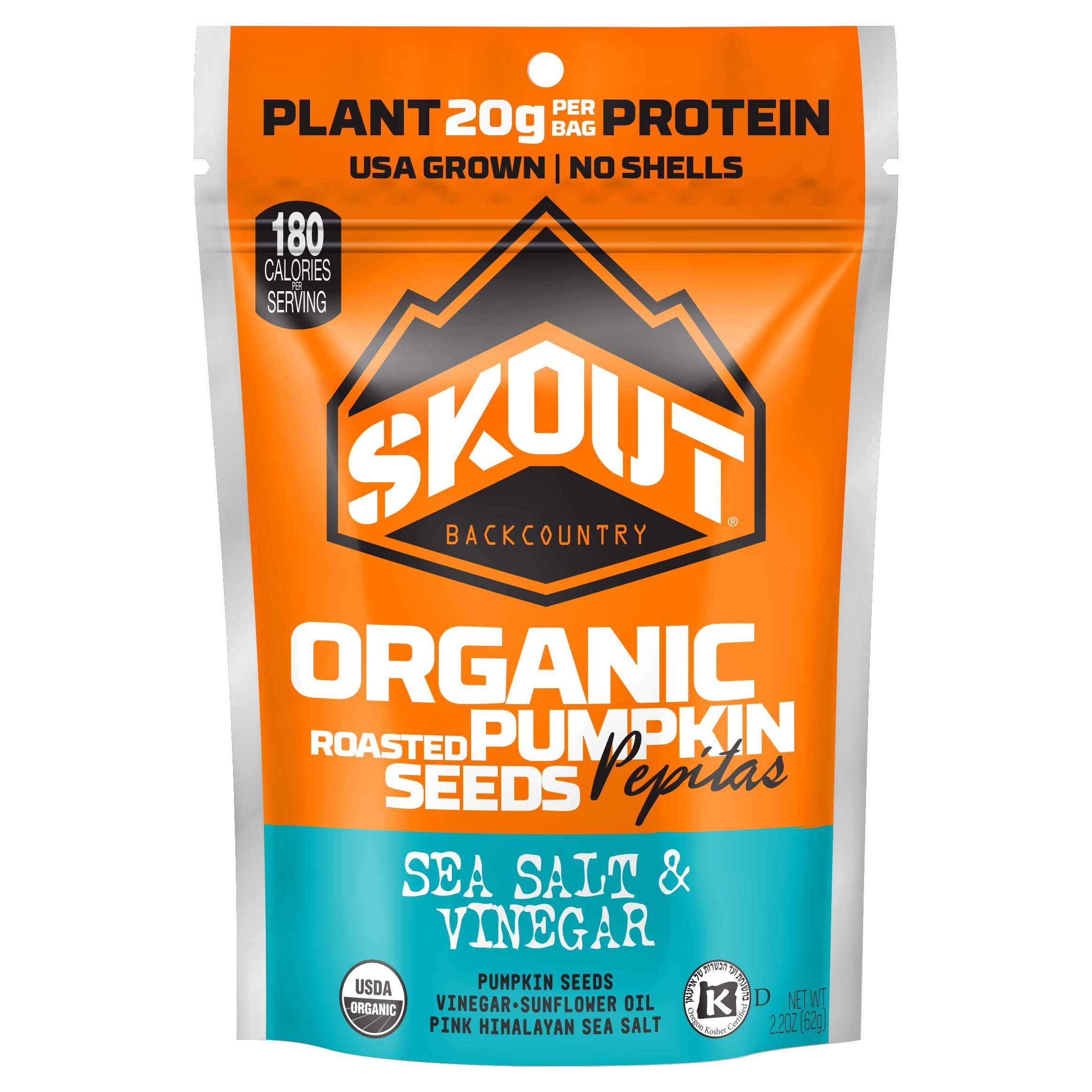 SKOUT Organic Roasted Pumpkin Seeds - Sea Salt & Vinegar - Pepitas With No Shell - Vegan, Low Carb Snacks - Paleo Foods - Gluten Free - Non-GMO - Kosher - Grown in USA - 2.2 oz (6 Count)