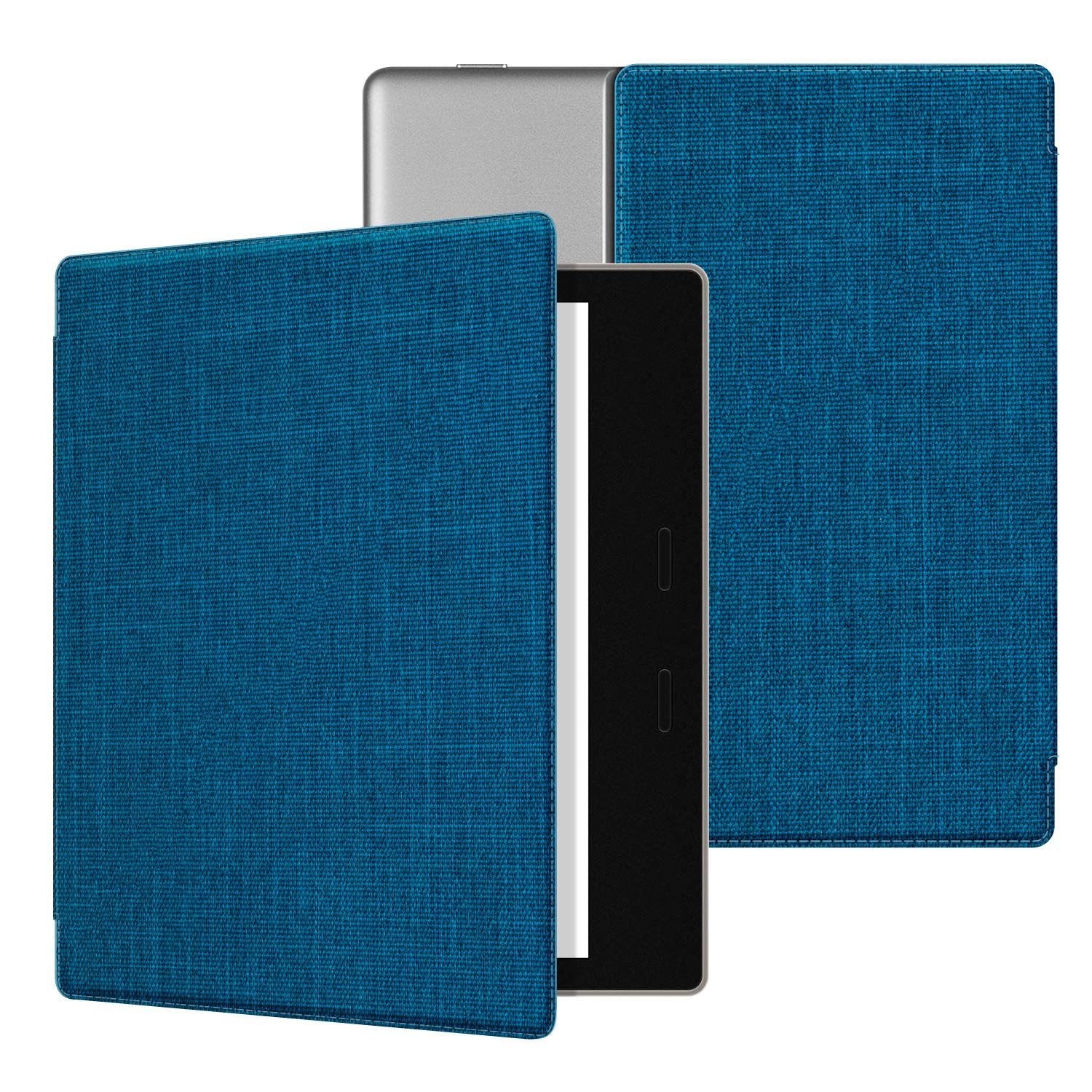"""Ayotu Fabric Case for All-New 7"""" Kindle Oasis(10th Gen, 2019 Release& 9th Gen, 2017 Release) Thinnest and Lightest, Strong Adsorption and Durable Soft Fabric Cover with Auto Wake/Sleep,Blue"""