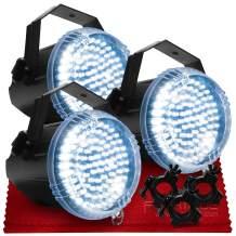 "American DJ Big Shot LED II White LED Strobe Light (x3) O-Clamp 1.5 for 1.5 or 2"" Truss (x3) & Fibertique Microfiber Cleaning Cloth"