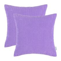 CaliTime Pack of 2 Comfy Throw Pillow Covers Cases for Couch Sofa Bed Decoration Comfortable Supersoft Corduroy Corn Striped Both Sides 24 X 24 Inches Lavender