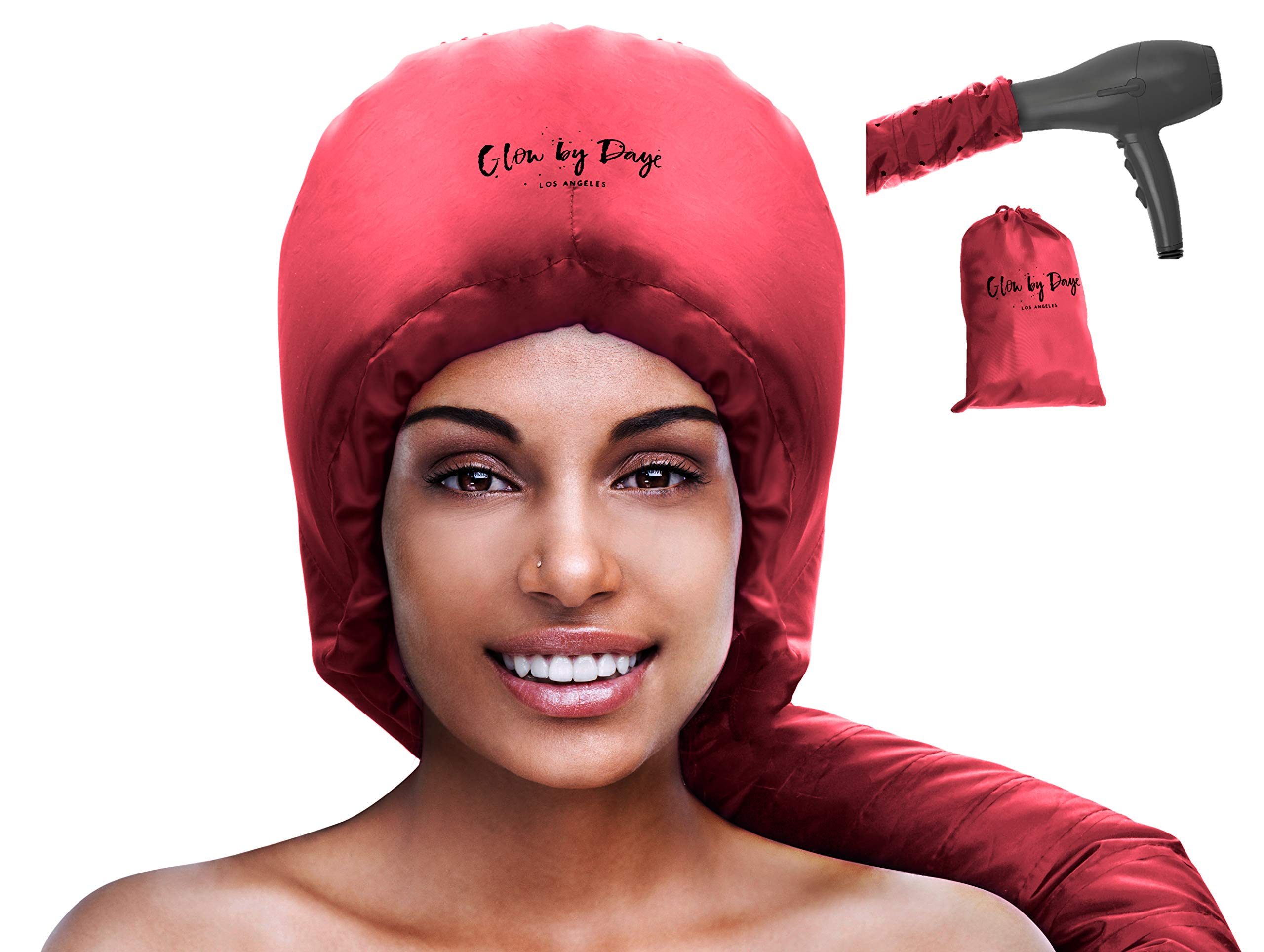 Bonnet Hood Hair Dryer Attachment- Soft, Adjustable Extra Large Hooded Bonnet for Hand Held Hair Dryer with Stretchable Grip and Extended Hose Length (Red)