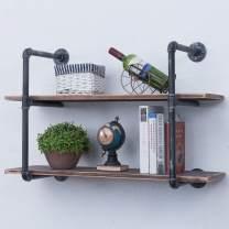 Industrial Pipe Shelves with Wood 2-Tiers,Rustic Wall Mount Shelf 36.2in,Metal Hung Bracket Bookshelf,DIY Storage Shelving Floating Shelves