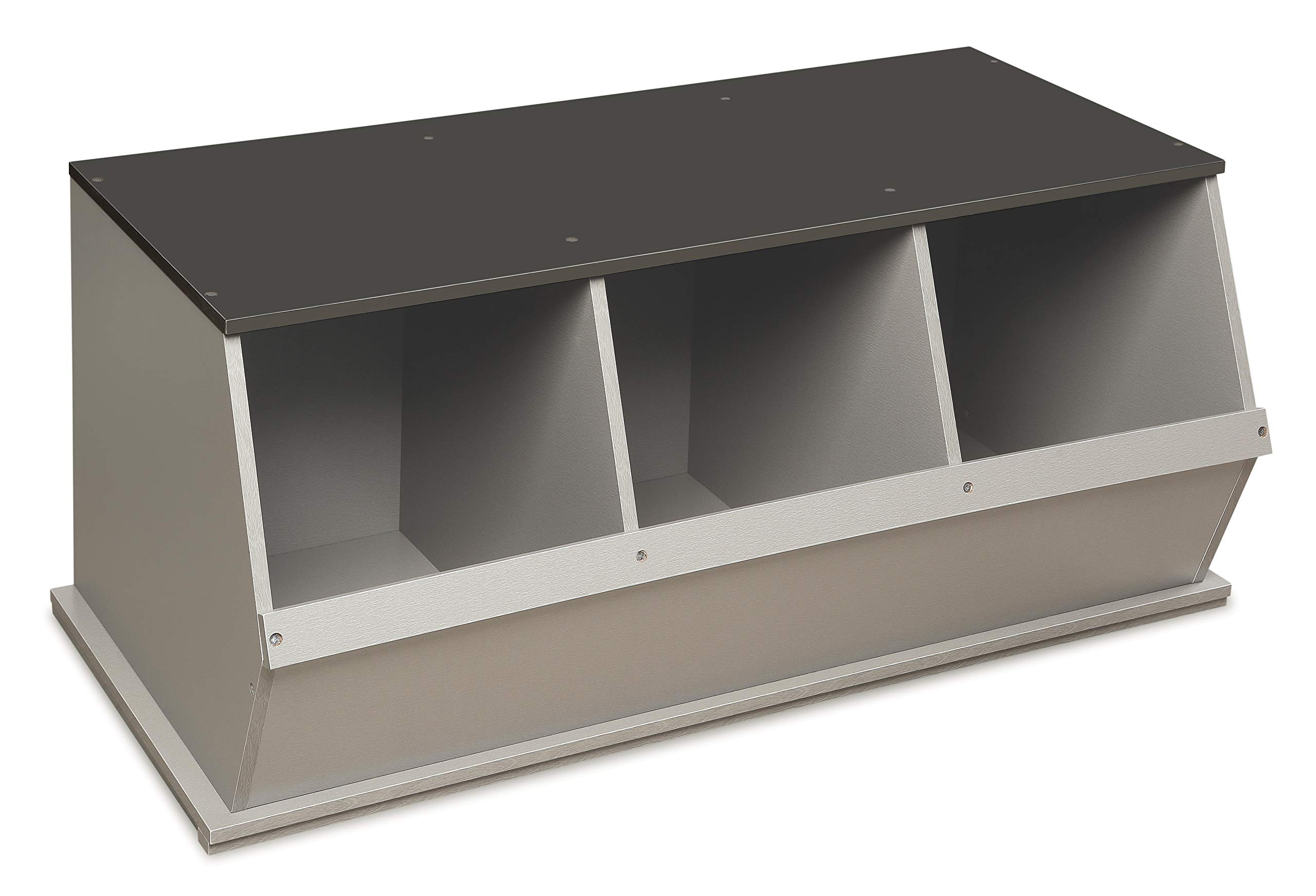 Stackable 3 Bin Open Storage Toy Organizing Cubby
