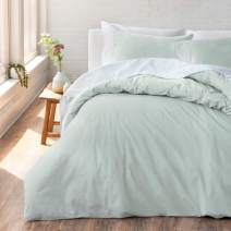 "Welhome Cozy 100% Cotton Percale Washed Reversible Duvet Cover Set - Full/Queen Size (Seafoam) - 88"" x 92"" - Cool - Lightweight - Supersoft - Breathable - Machine Washable"