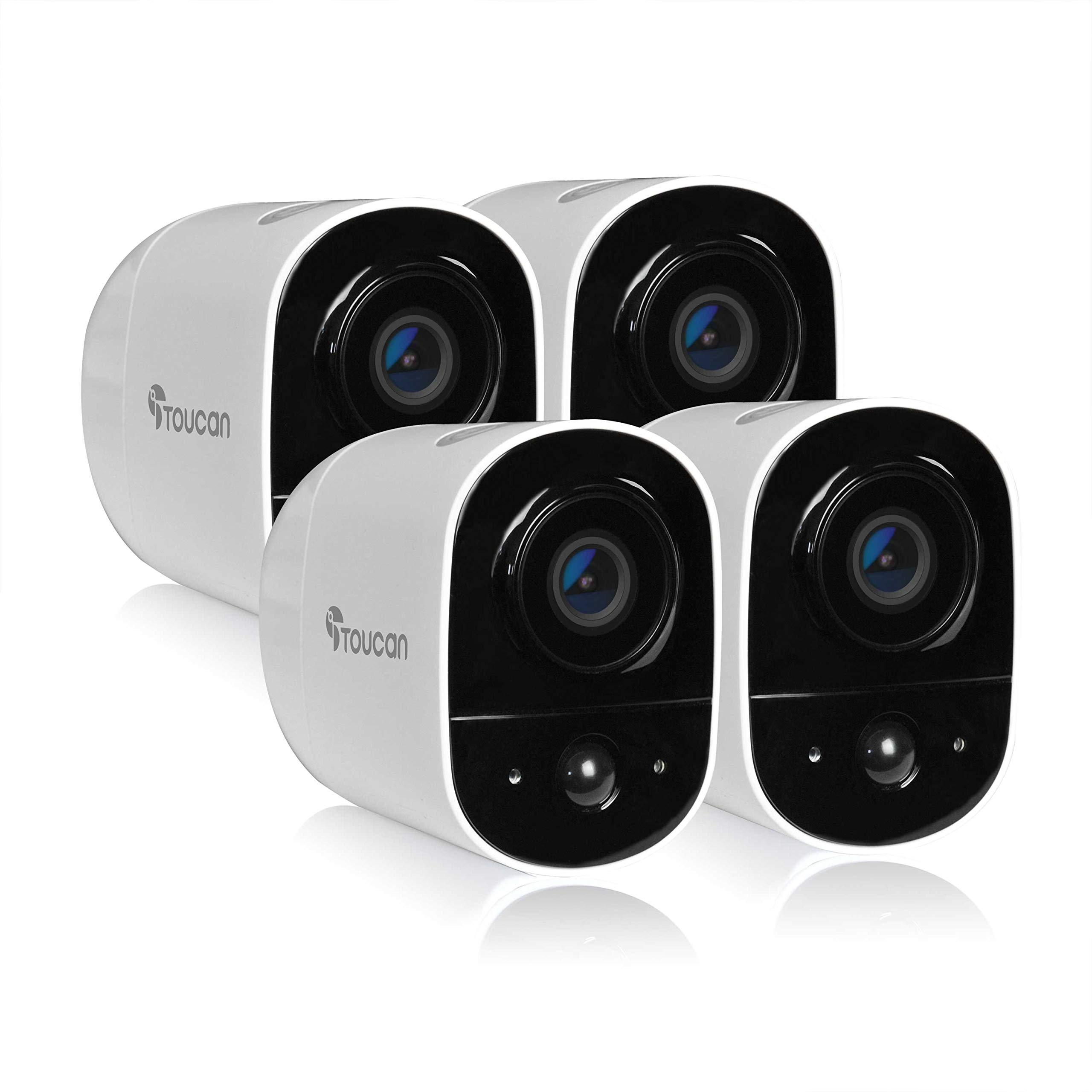 Toucan Rechargeable Battery-Powered Wireless Outdoor Security Camera with 1080P FHD Video, Smart Home, Motion Detection, Weatherproof, Night Vision, 2-Way Audio, 2.4Ghz WiFi, Works with Alexa (4 Pack)