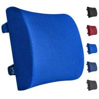 Everlasting Comfort Lumbar Support Pillow for Office Chair - Pure Memory Foam Lumbar Cushion for Car (Blue)