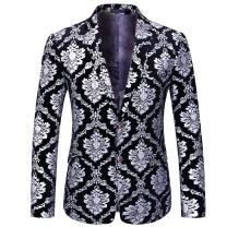 Boyland Men's Dress Suit Jacket Luxury Jacquard Notched Lapel Floral Blazer Formal Dress Prom