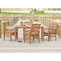 Walker Edison Furniture Company 4 Person Outdoor Wood Ladder Back Patio Furniture Dining Set Table Chairs All Weather Backyard Conversation Garden Poolside Balcony, 5 Piece, Brown