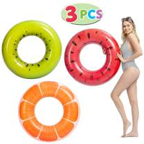 """JOYIN Fruit Pool Floats 32.5"""" (3 Pack), Funny Inflatable Pool Tube Toys for Swimming Pool Party Decorations"""